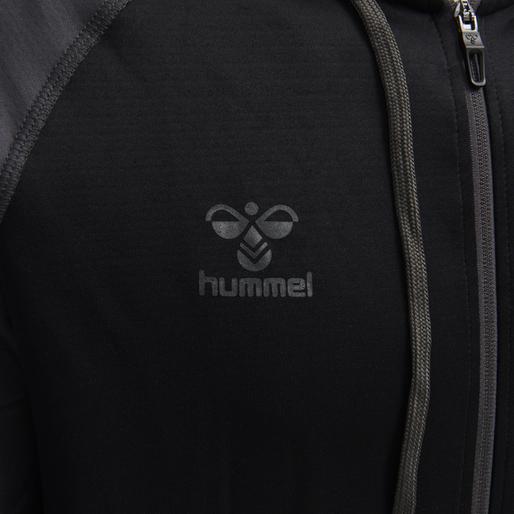 hmlACTION ZIP HOODIE SWEAT, BLACK/ASPHALT, packshot