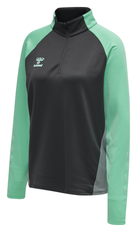 hmlACTION HALF ZIP SWEAT WOMAN, ASPHALT/ELECTRIC GREEN, packshot