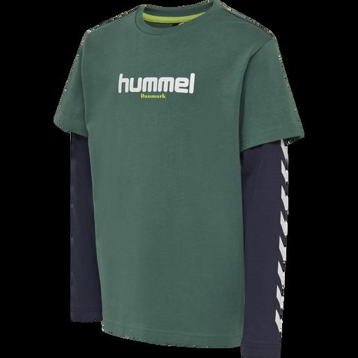hmlHIKARO T-SHIRT L/S, MALLARD GREEN, packshot