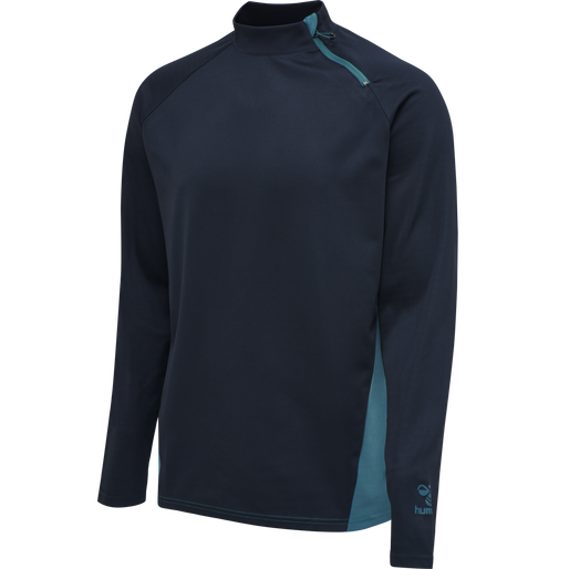 hmlACTION HALF ZIP SWEAT, DARK SAPPHIRE/BLUE CORAL, packshot