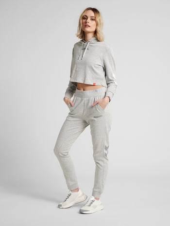 hmlLEGACY WOMAN CROPPED HOODIE, GREY MELANGE, model