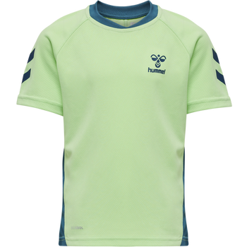 hmlACTION JERSEY S/S KIDS, GREEN ASH/BLUE CORAL, packshot
