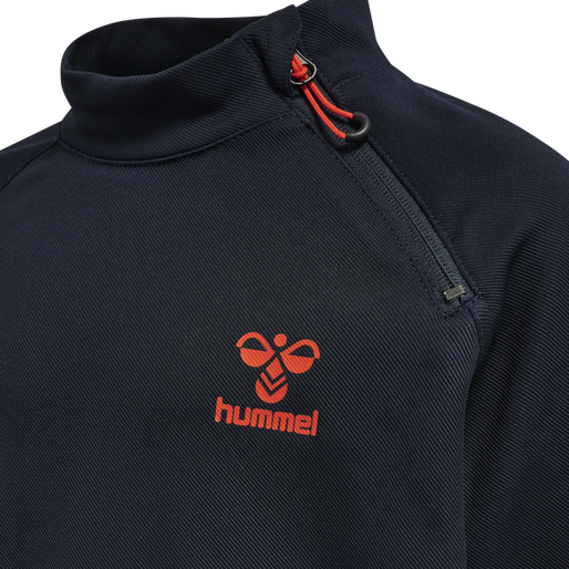 hmlACTION HALF ZIP SWEAT KIDS, DARK SAPPHIRE/FIESTA, packshot