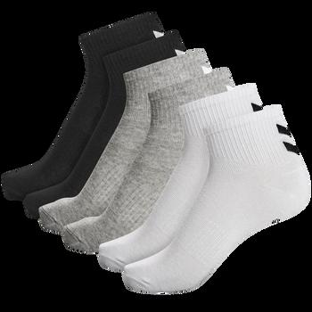 hmlCHEVRON 6-PACK MID CUT SOCKS, WHITE/BLACK/GREY, packshot