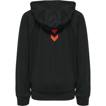 hmlACTION ZIP HOODIE KIDS, BLACK/FIESTA, packshot
