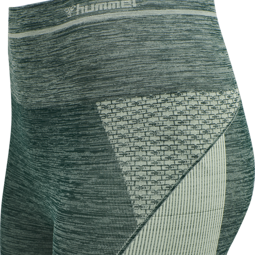 hmlVERA SEAMLESS HIGH WAIST TIGHTS, DARKEST SPRUCE/BASIL MELANGE, packshot