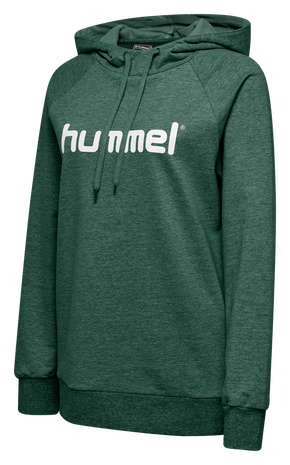 HUMMEL GO COTTON LOGO HOODIE WOMAN, EVERGREEN, packshot