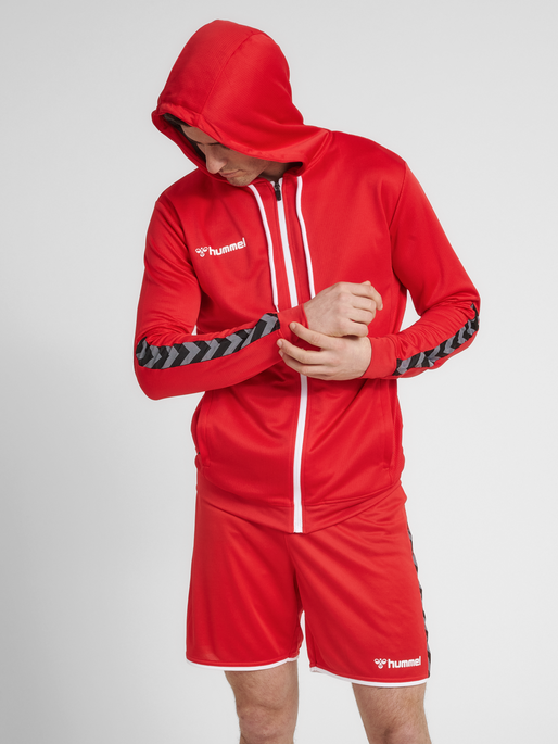 hmlAUTHENTIC POLY ZIP HOODIE, TRUE RED, model