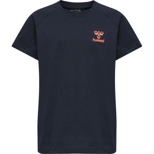 hmlACTION COTTON T-SHIRT KIDS, DARK SAPPHIRE/FIESTA, packshot