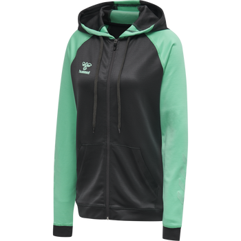 hmlACTION ZIP HOODIE SWEAT WOMAN, ASPHALT/ELECTRIC GREEN, packshot
