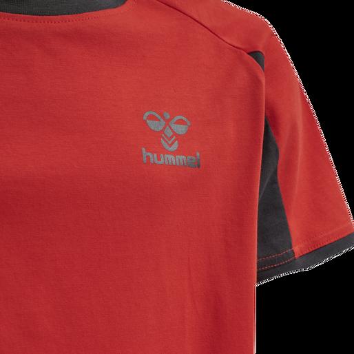 hmlACTION COTTON T-SHIRT KIDS, FLAME SCARLET/EBONY, packshot