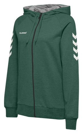 HUMMEL GO COTTON ZIP HOODIE WOMAN, EVERGREEN, packshot