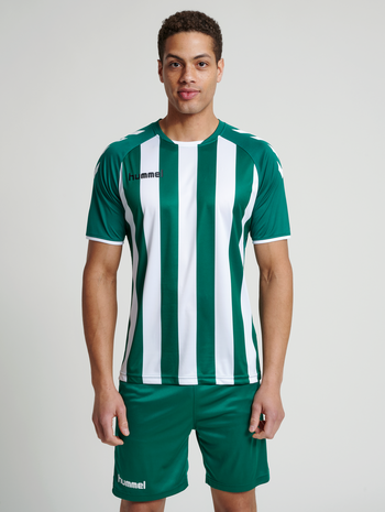 CORE STRIPED SS JERSEY, EVERGREEN/WHITE, model