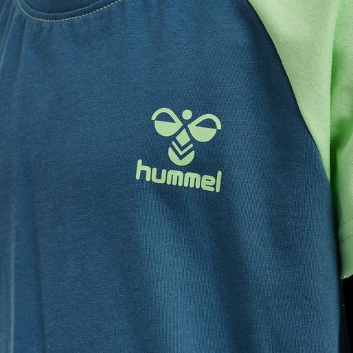 hmlACTION COTTON T-SHIRT KIDS, BLUE CORAL/GREEN ASH, packshot
