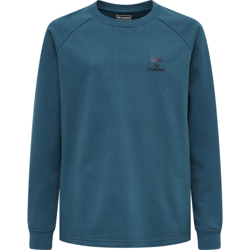 hmlACTION COTTON SWEATSHIRT KIDS, BLUE CORAL/DARK SAPPHIRE, packshot