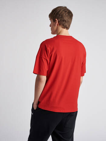 hmlBEACH BREAK T-SHIRT S/S, TRUE RED, model