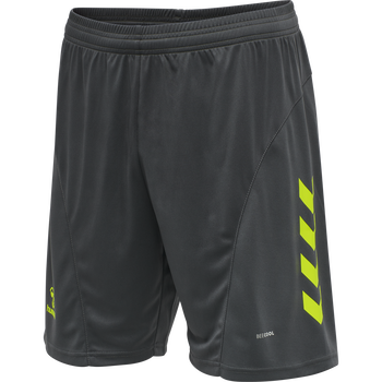 hmlACTION SHORTS KIDS, APSHALT/SAFETY YELLOW, packshot
