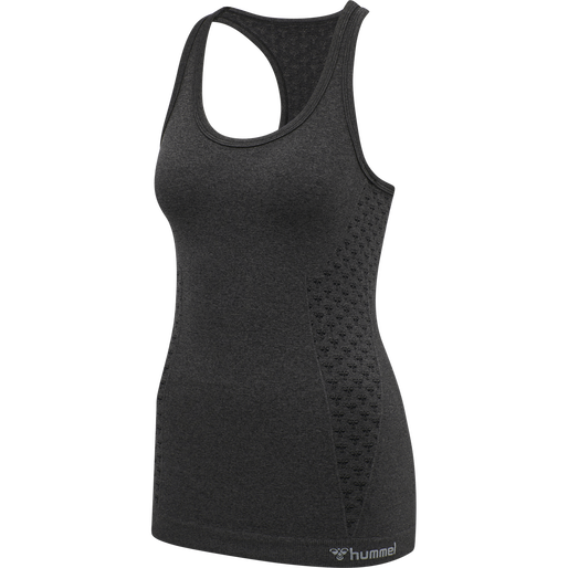 hmlCI SEAMLESS TOP, BLACK MELANGE, packshot