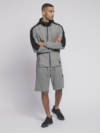hmlTROPPER ZIP HOODIE, GREY MELANGE, model