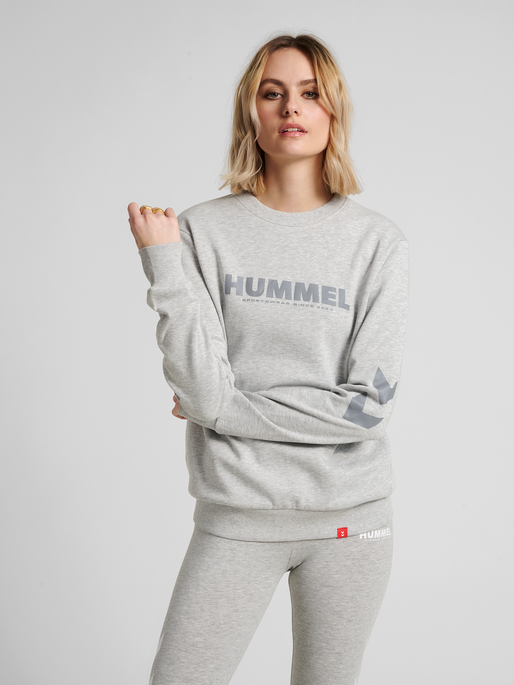 hmlLEGACY SWEATSHIRT, GREY MELANGE, model