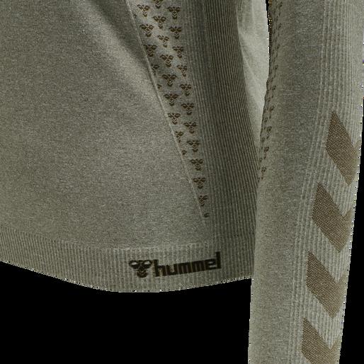 hmlCI SEAMLESS T-SHIRT L/S, VETIVER MELANGE, packshot