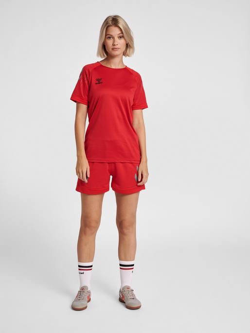 hmlLEAD S/S POLY JERSEY WOMEN, TRUE RED, model