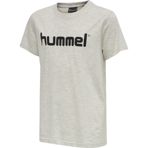 HUMMEL GO KIDS COTTON LOGO T-SHIRT S/S, EGRET MELANGE, packshot