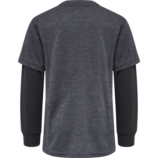 hmlDYLAN T-SHIRT L/S, GRAPHITE/BLACK, packshot