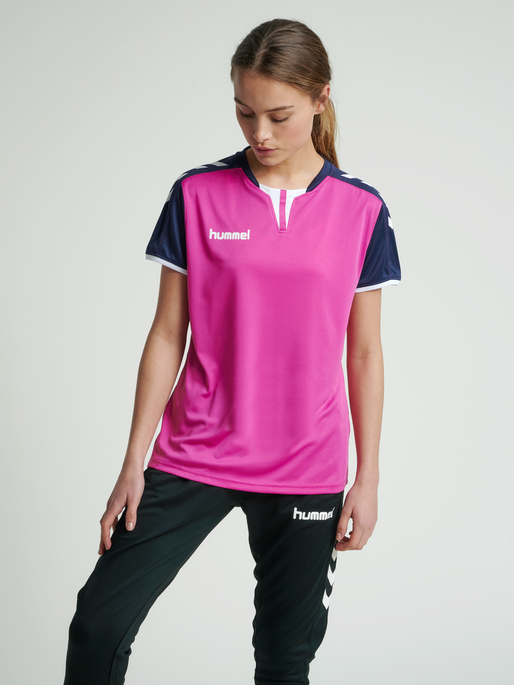 CORE WOMENS SS JERSEY, ROSE VIOLET/MARINE PR, model