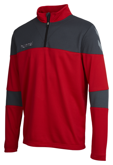 HUMMEL SIRIUS HALF ZIP SWEAT, TRUE RED/DARK SLATE, packshot