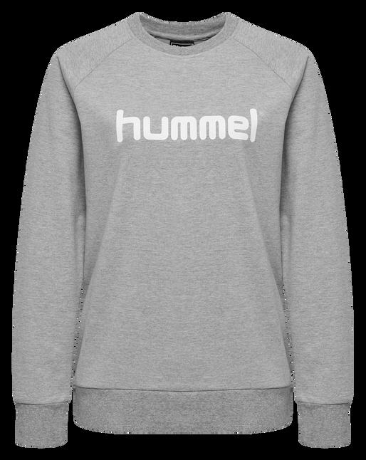HUMMEL GO COTTON LOGO SWEATSHIRT WOMAN, GREY MELANGE, packshot